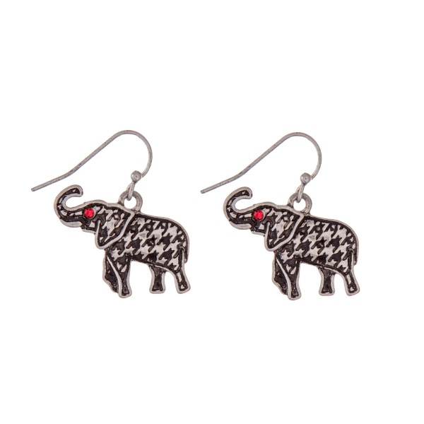 Wholesale silver fishhook earrings houndstooth elephant red rhinestones