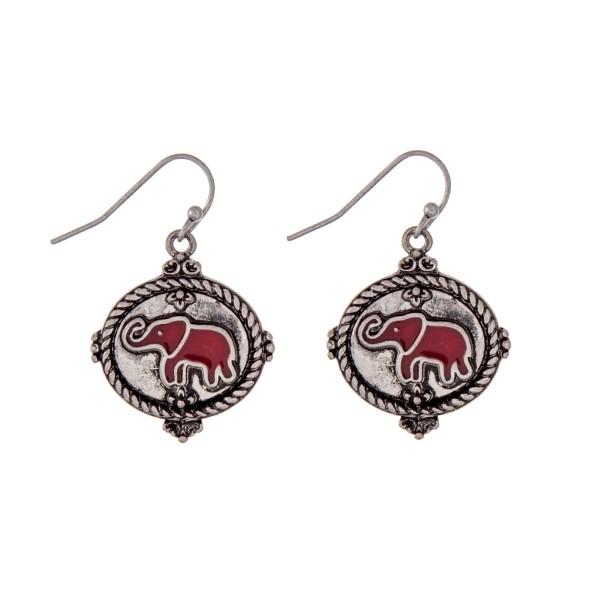 Wholesale silver fishhook earrings crimson epoxy elephant
