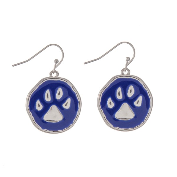 Wholesale silver fishhook earrings epoxy royal blue paw print