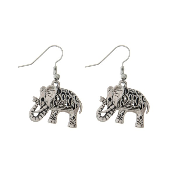 Wholesale silver fishhook earrings elephant
