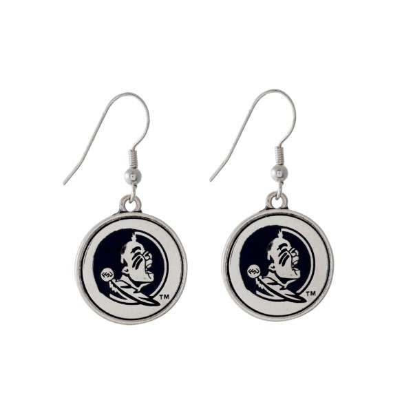 Wholesale officially licensed Florida State University silver fishhook earrings