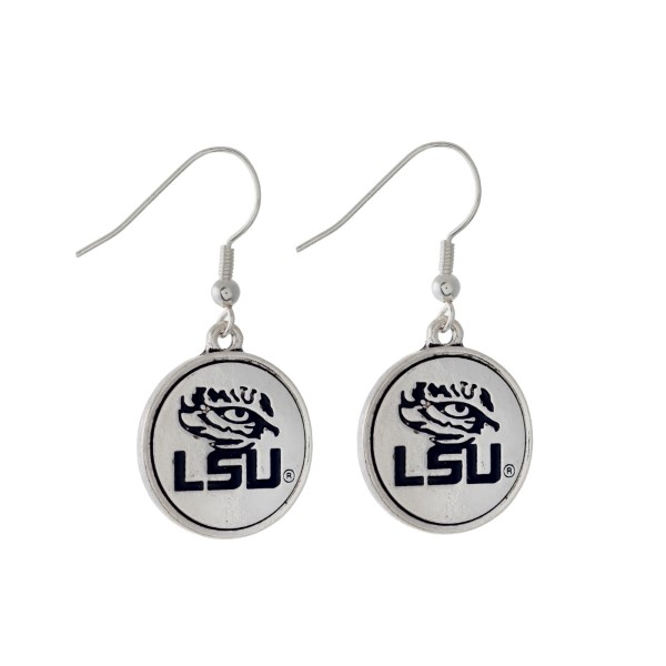 Wholesale officially licensed LSU silver fishhook earrings circle logo