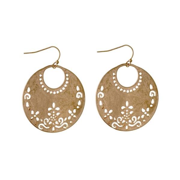 Wholesale gold fishhook earrings laser cut circle