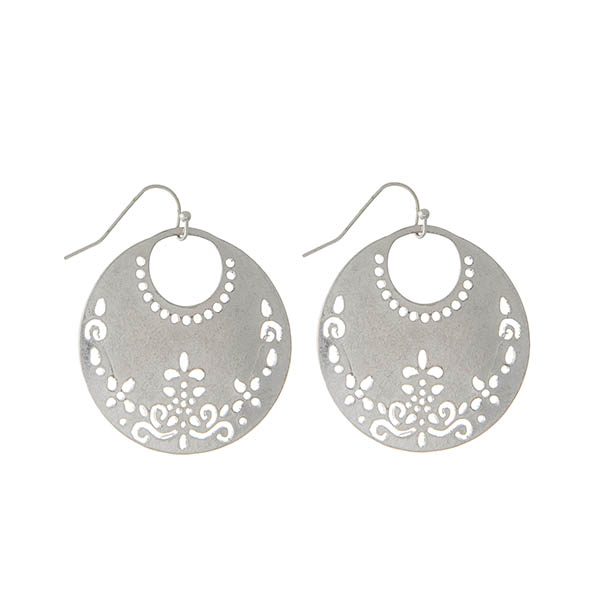 Wholesale silver fishhook earrings laser cut circle