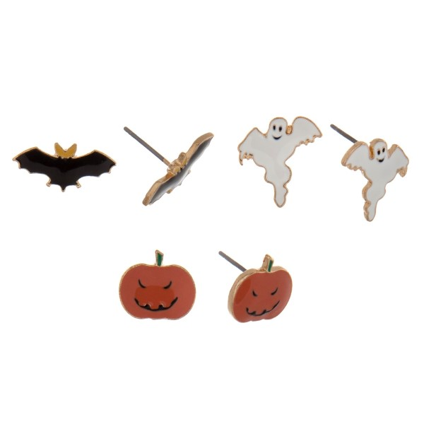 Wholesale gold Halloween three pair stud earring set ghosts pumpkins bats