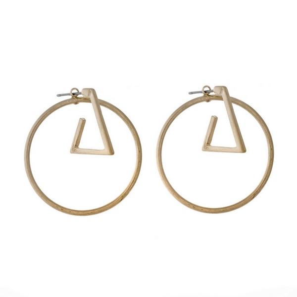 Wholesale gold post earrings geometric circle triangle