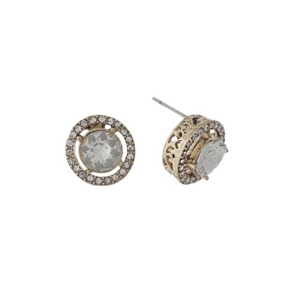 Wholesale gold stud earrings clear rhinestones clear center rhinestone