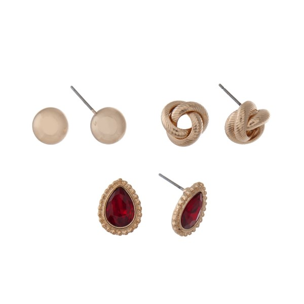 Wholesale gold three pair earring set polished circle studs knot studs red teard