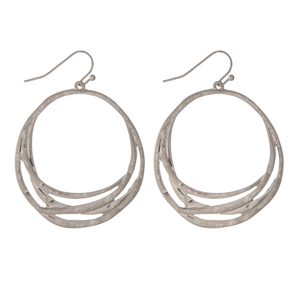 Wholesale hammered silver circle earrings