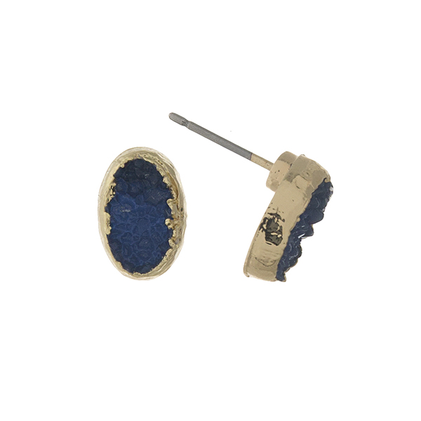 Wholesale gold navy blue druzy stone stud earrings oval