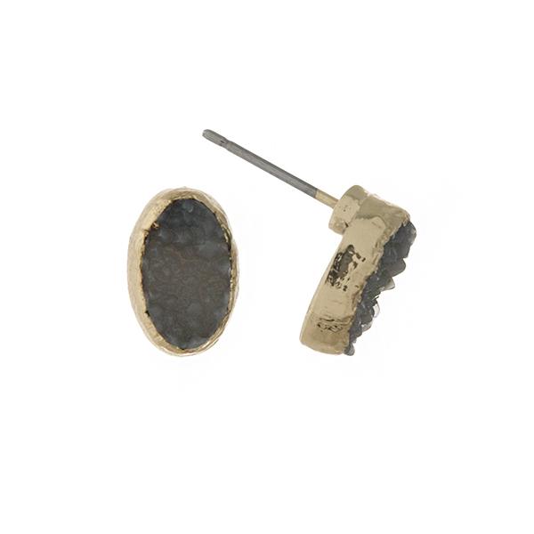 Wholesale gold gray druzy stone stud earrings oval