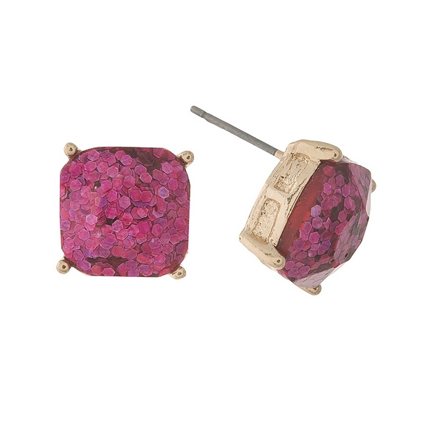 Wholesale gold stud earrings pink glitter