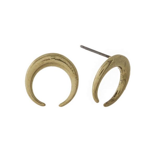 Wholesale burnished gold crescent stud earrings diameter