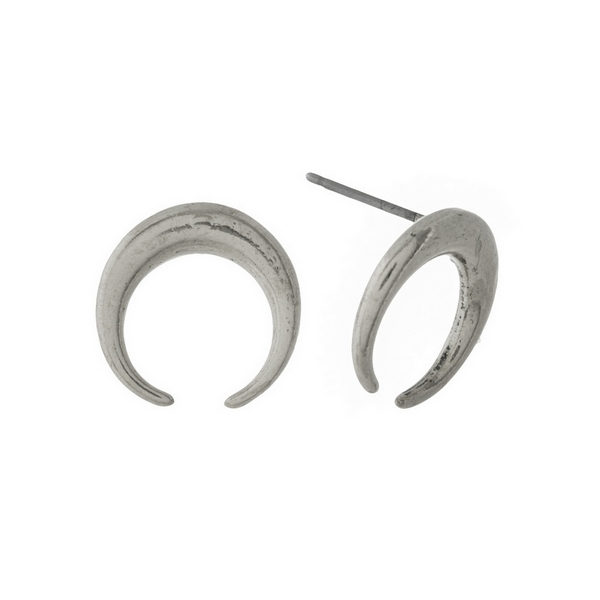 Wholesale burnished silver crescent stud earrings diameter