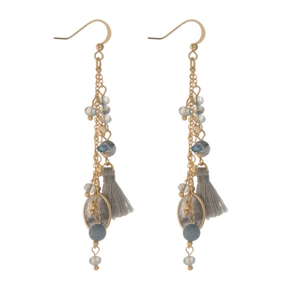 Wholesale gold fishhook earrings displaying chain tassels gray beads labradorite