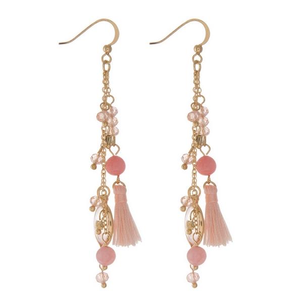 Wholesale gold fishhook earrings displaying chain tassels peach beads cherry qua