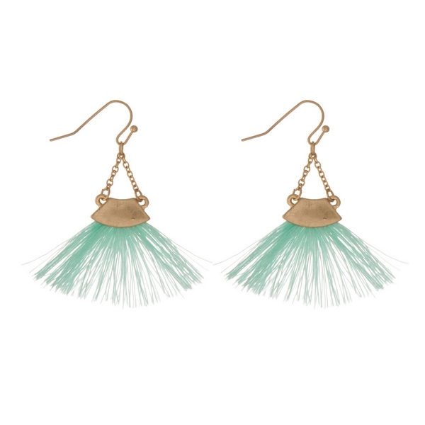 Wholesale gold fishhook earrings mint green fan tassel