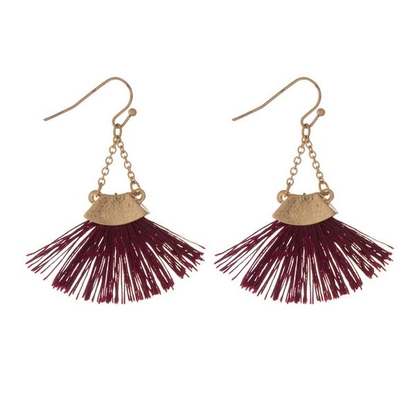 Wholesale gold fishhook earrings burgundy fan tassel