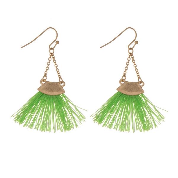Wholesale gold fishhook earrings lime green fan tassel