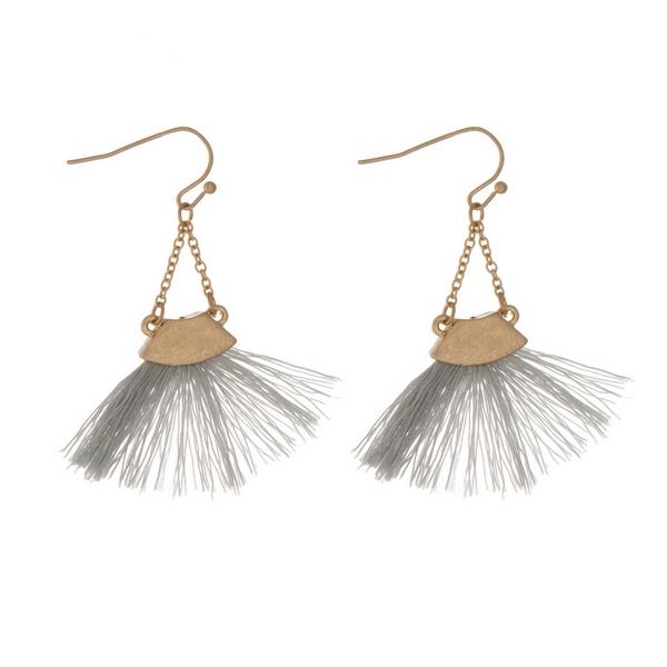 Wholesale gold fishhook earrings gray fan tassel