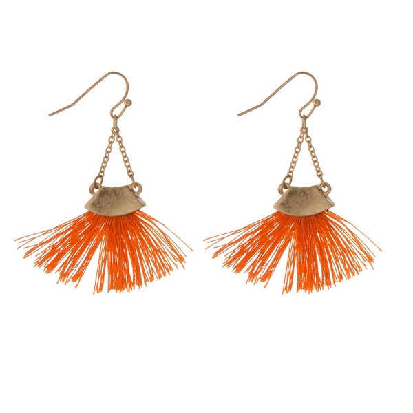 Wholesale gold fishhook earrings orange fan tassel