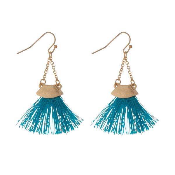 Wholesale gold fishhook earrings teal fan tassel
