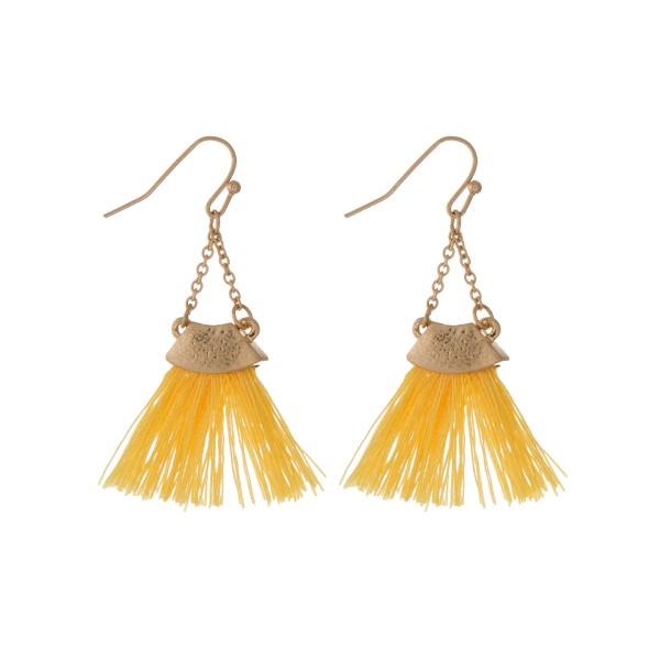 Wholesale gold fishhook earrings yellow fan tassel
