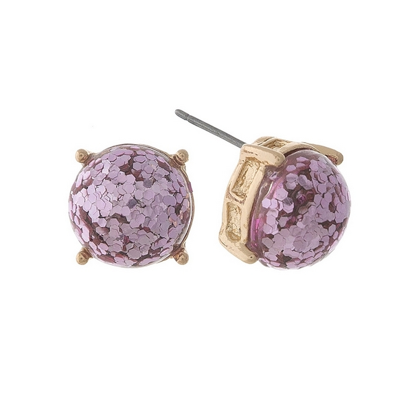 Wholesale gold stud earrings pink glitter diameter