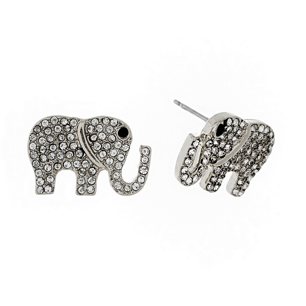 Wholesale silver elephant stud earrings clear rhinestones