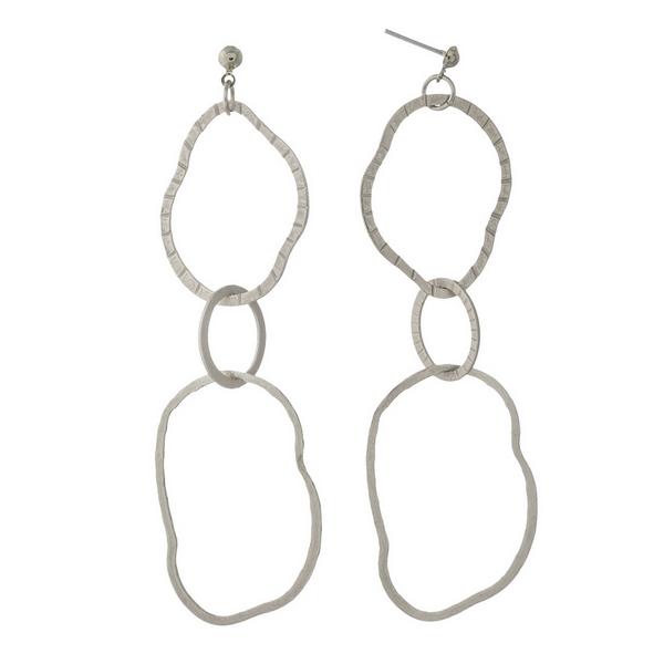 Wholesale silver post earrings three hammered interlocking rings