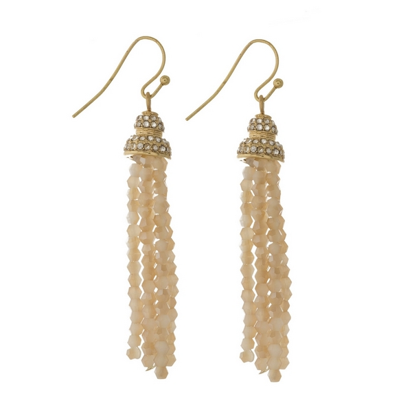 Wholesale gold fishhook earrings ivory beaded tassel clear rhinestones