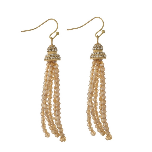 Wholesale gold fishhook earrings topaz beaded tassel clear rhinestones