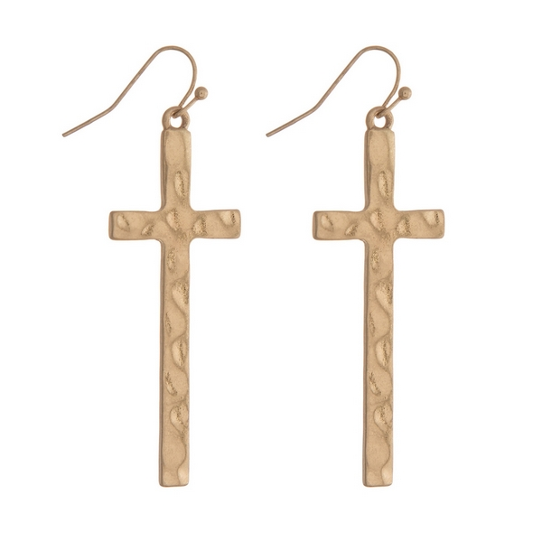 Wholesale gold fishhook earrings hammered cross