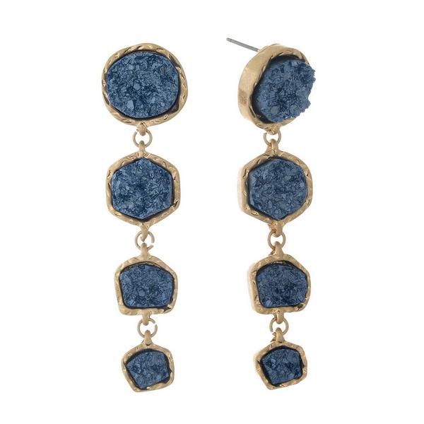 Wholesale gold post earrings four navy blue faux druzy stones