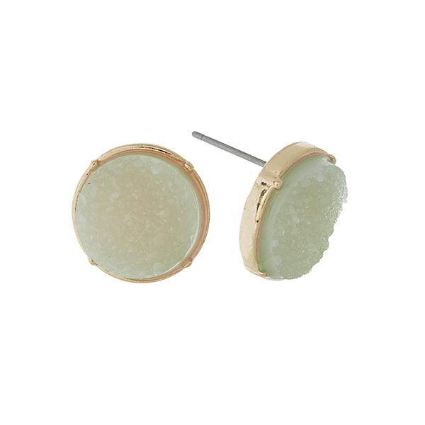 Wholesale gold stud earrings mint green circle faux druzy stone diameter