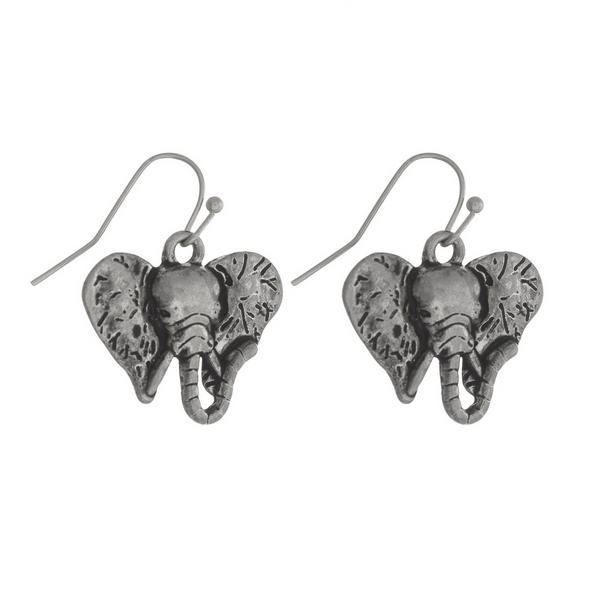 Wholesale silver fishhook earrings elephant head