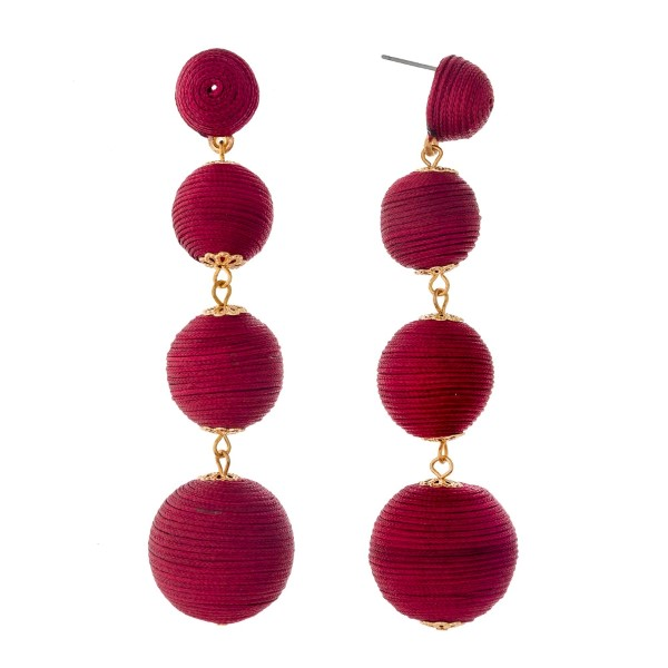 Wholesale burgundy thread wrapped ball earrings gold accents