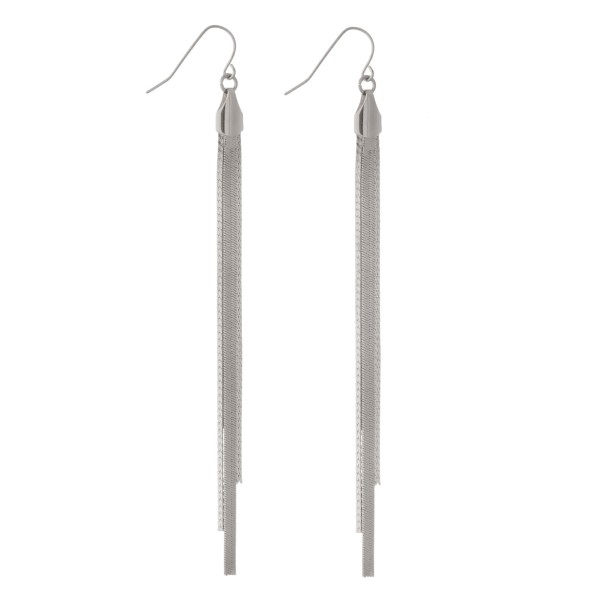 Wholesale silver fishhook earrings snake chain tassel