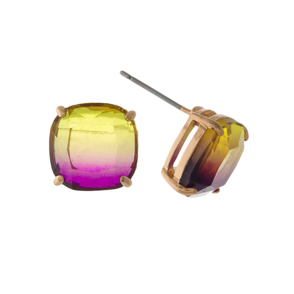 Wholesale gold stud earrings topaz ombre stone