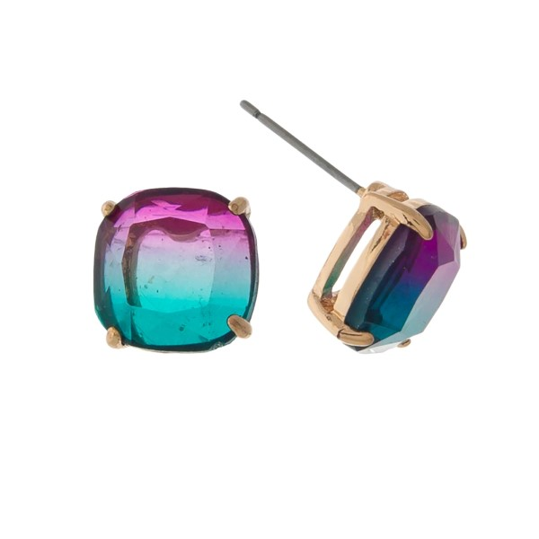 Wholesale gold stud earrings purple green ombre stone