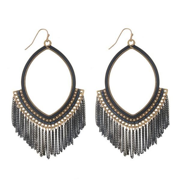 Wholesale burnished gold fishhook earrings open oval black chain fringe