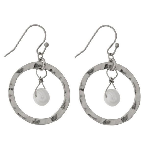Wholesale dainty fishhook earrings open circle freshwater pearl bead