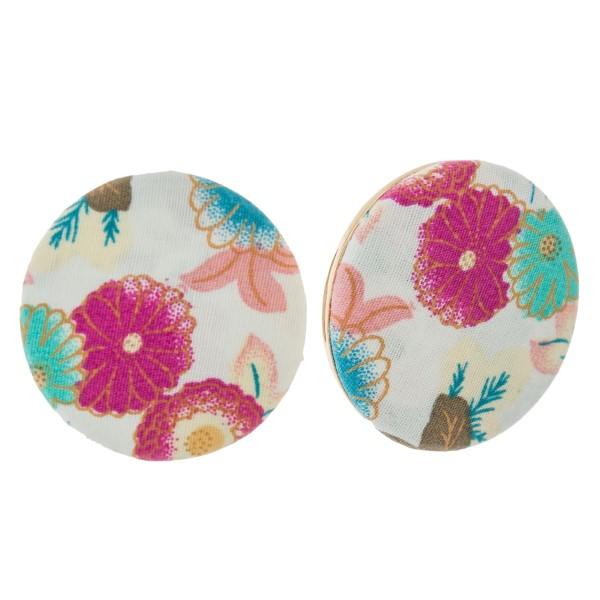 Wholesale circle floral fabric stud earrings diameter earring made same fabric b