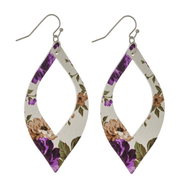 Wholesale silver fishhook earrings faux leather cutout oval floral pattern