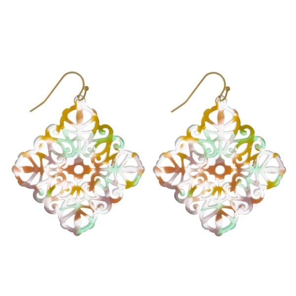 Wholesale gold fishhook filigree acetate earring