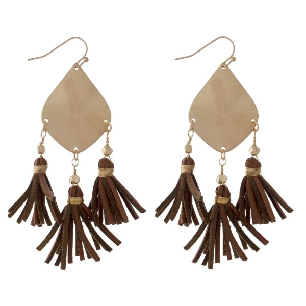 Wholesale gold fishhook earring leather tassels