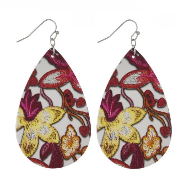 Wholesale fishhook earring floral printed teardrop