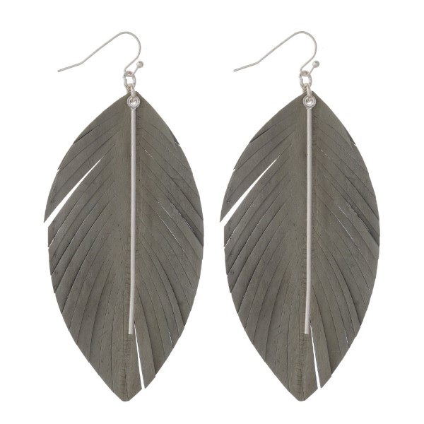Wholesale genuine leather feather earring metal detail