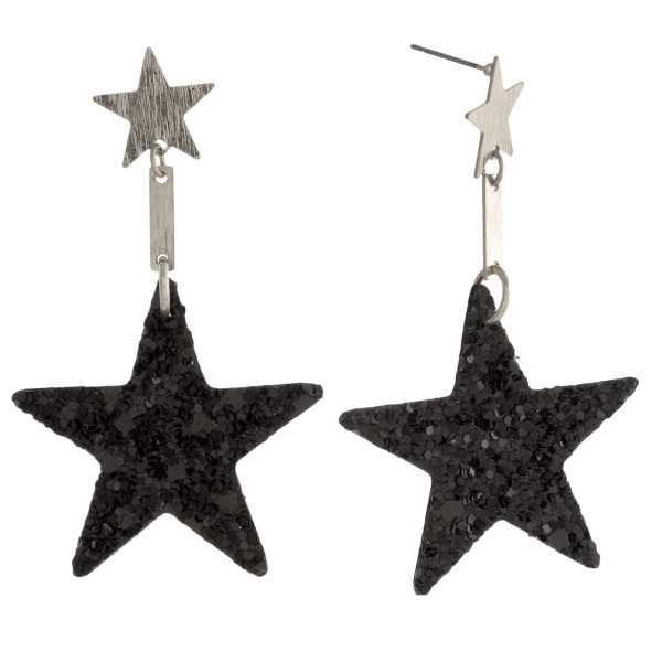 Wholesale star stud earring leather glitter star