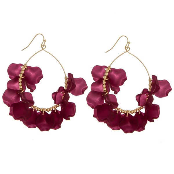 Wholesale long hoop earring acetate flowers charms Approximate diameter
